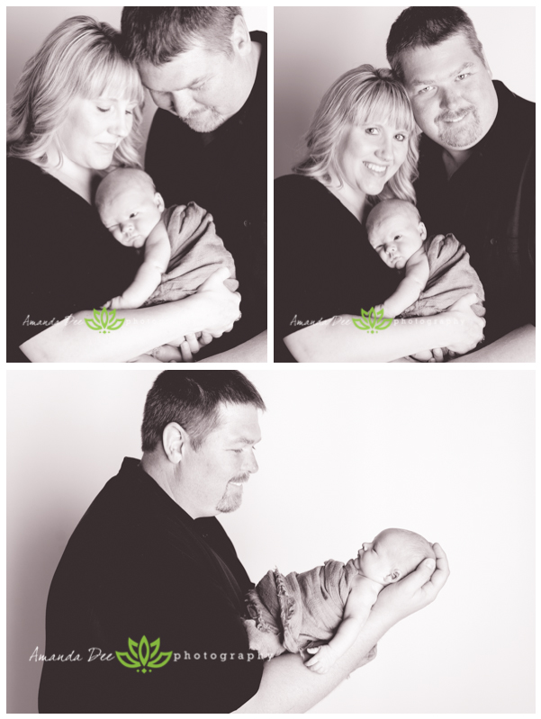 Newborn Baby Boy with Mom and Dad Family Black and White