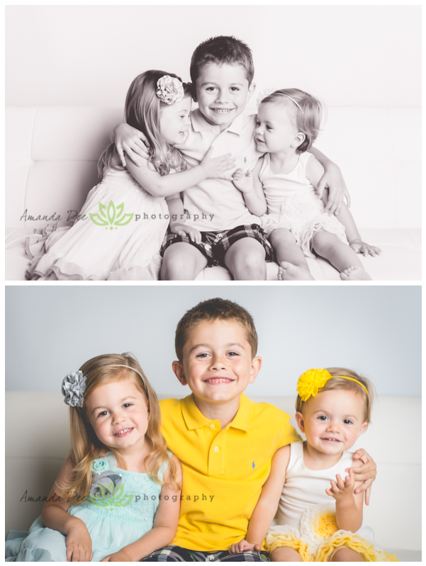Summer Family Session In-Studio 3 kids black and white and color