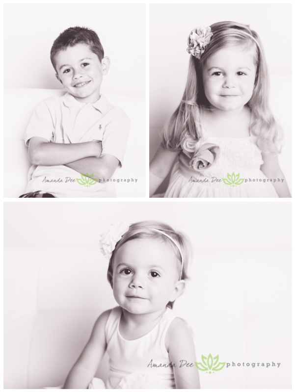 Summer Family Session In-Studio 3 kids black and white individual
