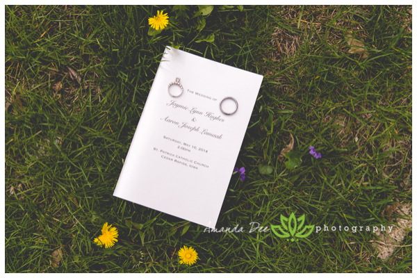 Wedding Rings on invitation in grass dandilions